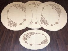 ROMANY GYPSY WASHABLES MATS FULL SET OF 4 MATS/RUGS XLARGE 100X140CM OVAL CREAM